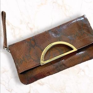WHBM Snake Embossed Folded Convertible Clutch